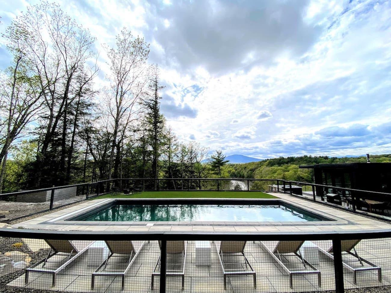 Modern luxury pool catskills views Kingston NY