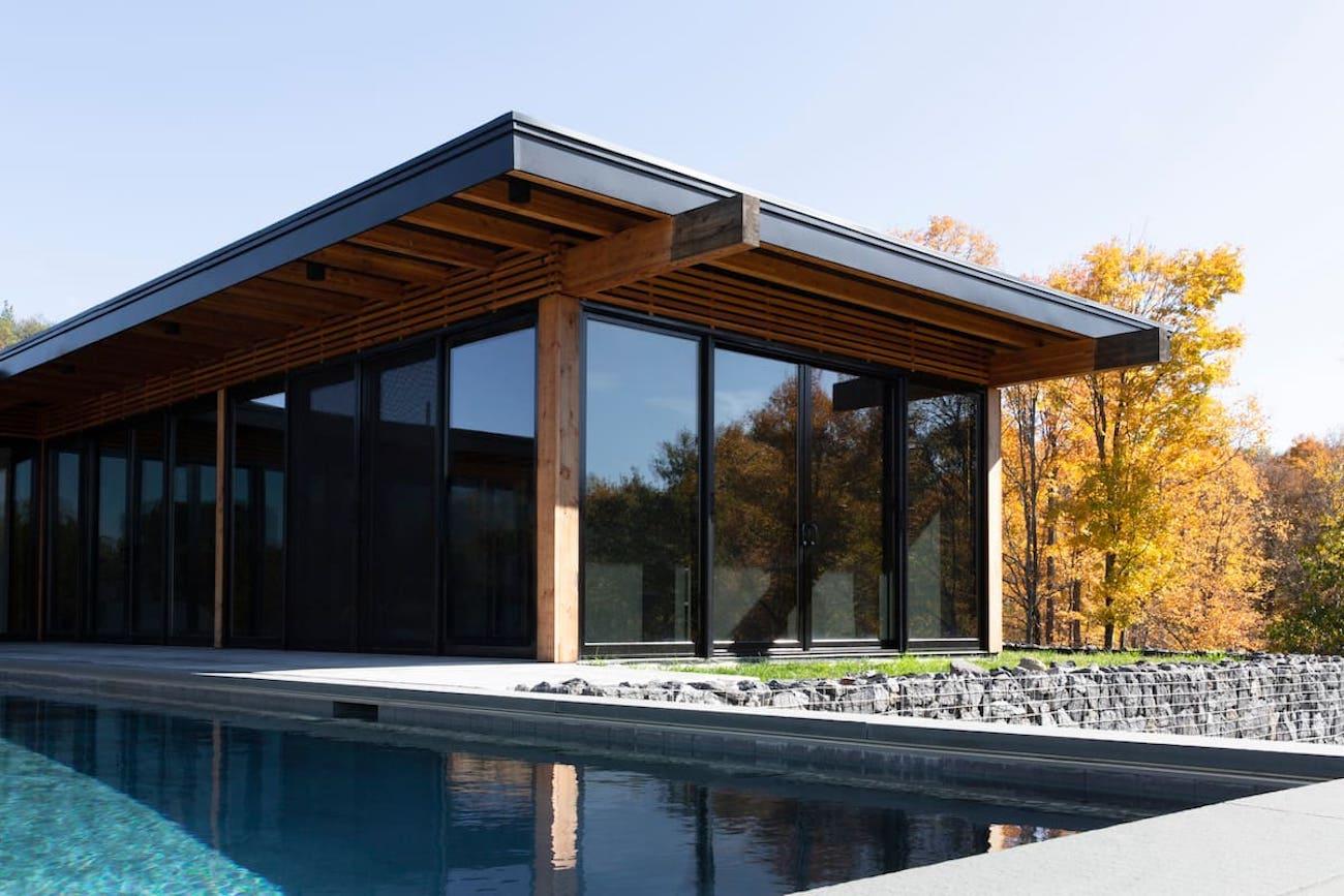Modern glass house luxury Hudson NY